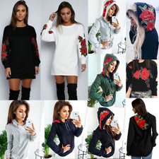 Womens Long Sleeve Floral Pullover Tops Blouse T Shirt Hoodies Jumper Mini Dress