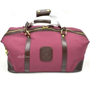 NWT $995 Ghurka Cavelier I No. 96 Duffle Bag Leather Burgundy Canvas AUTHENTIC