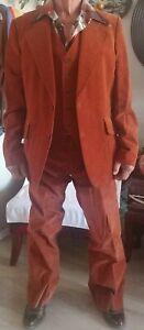 Vintage Eurocraft Mens Four Pc Cordory Shirt Vest Pants And Jacket Set 1960s