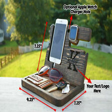 Mobile Phone Holder Stand Docking Station Store Watch Key Sunglasses Wooden Gift