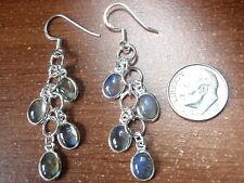 Labradorite Cluster 925 Sterling Silver Dangle Earrings