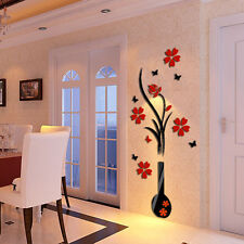 3D Vase Flower Tree Arcylic Wall Sticker Home Room TV Decor DIY Art Mural Decals