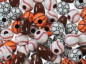 20 Premium Sports Plastic Beads - Football Soccer Basketball Baseball 12mm-15mm