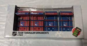 New York Rangers Toboggan Holiday Christmas Tree Ornaments 4 pack NEW Sleds
