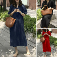 Women Casual Loose Puff Long Sleeve V Neck Elastic Cuffs Cotton Linen Midi Dress