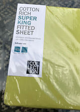 DEBENHAMS HOME COLLECTION Lime Green SUPER KING SIZE FITTED SHEET New In Packet