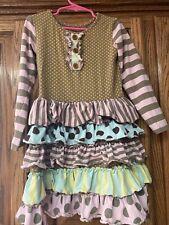 Mustard Pie Girl's Brown & Yellow Pink Polka Dot Ruffles Set Size 5
