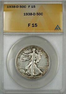 1938-D Walking Liberty Half Dollar Coin 50C ANACS F 15
