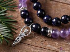 AMETHYST & BLUE GOLDSTONE Goddess Charm Round Beaded Bracelet-Wedding Gift E0596