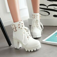 Womens Lolita Lace Buckle Strap Gothic Block High Heels Ankle Boots white us8