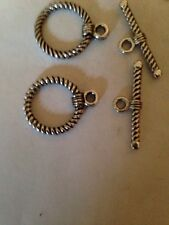 4 Sets 18mm Thick Rope Toggle Clasps Bali Style Pewter L@@K #301