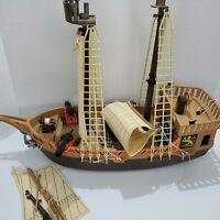 Playmobil Pirate Lot - Pirate Ship Incomplete. Some damage See My Pictures