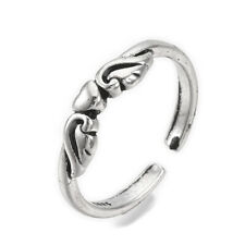Alloy Cuff Finger Ring Flying Heart Antique Silver Size 5 Adjustable 16mm P463
