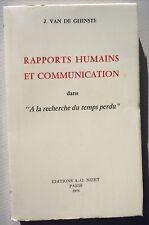 """VAN DE GHINSTE /RAPPORTS HUMAINS &.. dans """"À LA RECHERCHE DU TEMPS PERDU /NIZET"""