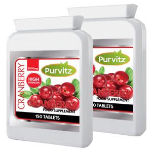 Cranberry Super Strength 5000mg 300 Tablets Cystitis Health Urinary Bladder UK
