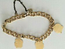 VINTAGE Yellow gold charm bracelet 1/20 12k Gf plus 14K solid gold charms DS Va