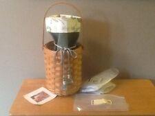 Longaberger Beverage Tote Basket w/ Sage & Botanical Fields Liner & Protector
