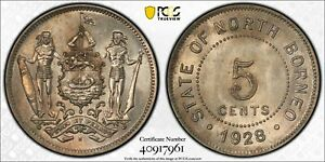 British North Borneo 5 cents 1928 H uncirculated PCGS MS63