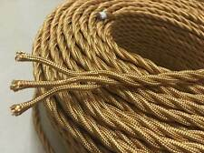 3Core Gold Antique Braided Woven Fabric Lamp Cable Wire Cord Light Electric Flex