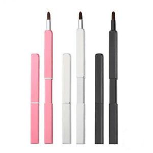 Travel Portable Vanity Lipstick Gloss Makeup Brush Tool Retractable Lip Brush