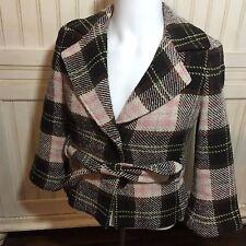 CAbi 730 KATE Plaid Wool Blend BELTED JACKET Blazer Coat 4 pink/brown Italian
