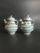 Gmundner Dizzy Green Oil And Vinegar Pouring Pots. Mid Century Austrian