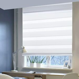 Day & Night Blind Double Layer Zebra Roller Blind Window No Drilling Easy Fix