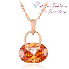 18K Rose Gold Plated Made With Swarovski Crystal Cute Handbag Champagne Necklace