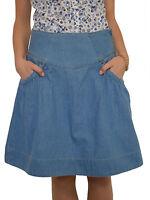 Casual Boutique Knee Length Tulip Light Blue Denim Jeans Skirt UK 8 10 12 14 16