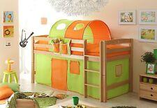 Lit mezzanine TIMMY R Hêtre massif tissus Vert-Orange