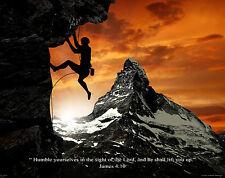Religious Motivational Poster Art Print Rock Climbing Gear James4:10  RELG03