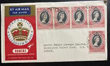 1953 Vila New Hebrides QE2 Coronation First DAy Cover Queen Elizabeth 2 Qantas