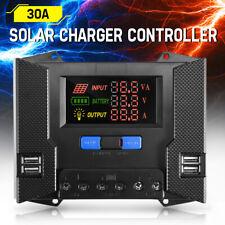 30A Solar Charger Controller 12V 24V Battery Panel Regulator 4 USB 5V Output