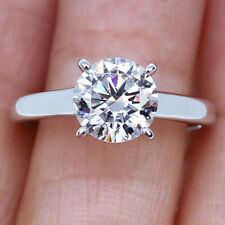 Simulated Diamond Engagement Ring R7-8-24 2Ct 14K White Gold Plated Silver