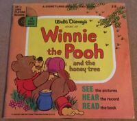 """Vintage Disneyland Book and Record Winnie the Pooh 1965, 7"""" Vinyl, 33 1/3 LP"""