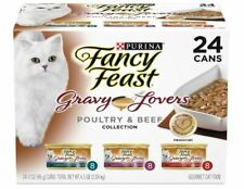 Purina Fancy Feast Gravy Lovers Wet Cat Food V Cans Poultry & Beef 24 Cans ✔️