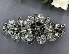 antiqued rhinestone crystal flower hair barrette black color clip free shipping