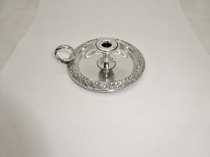 """VINTAGE S.KIRK & SON 34 SMALL STERLING SILVER REPOUSSE CHAMBERSTICK,PERFECT,4"""""""
