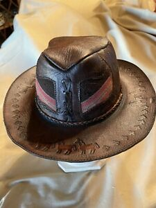 Mens Faux Leather Handmade Cowboy Hat Made In Peru Native Fabric Trim & Designs