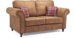 2 Seater Faux Leather Sofa - Tan Suede - Cushions Included