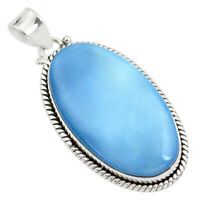 25.57cts Natural Blue Owyhee Opal Oval 925 Sterling Silver Pendant P41267