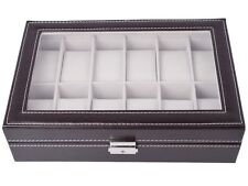 Watch Box Large 12 Mens Brown Leather Display Glass Top Jewelry Case Organizer