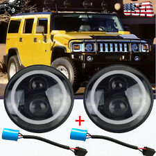 """HUMMER H1 H2 7"""" LED Hi/Lo Angel Eye Halo Projector Headlight 9007 to H4 Adapter"""
