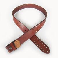 Men Real Leather Belt Brown Punk Nails Studded Solid Real Leather Belt Gurtel