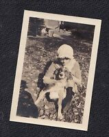 Old Vintage Antique Photograph Woman Wearing Crazy Hat Holding Puppy Dog
