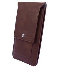 Brown PU Leather Case Belt Clip Holster for Motorola Moto G6 Plus / E5 Plus / Z3