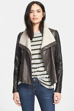 New VINCE $1085 Color block Balck/Charcoal/Gray Leather Jacket Large NWOT