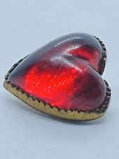 (1) Vintage Fancy Ruby Red Molded Lucite Heart Rhinestone Cabochon Button 10mm