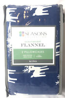 The Seasons Collection King Pillowcase Set Heavyweight Flannel Reindeer Blue