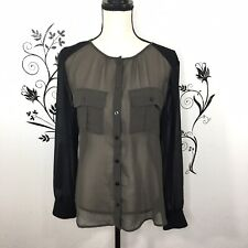 LSanctuary Clothing Blouse Sheer Womens Medium career button up